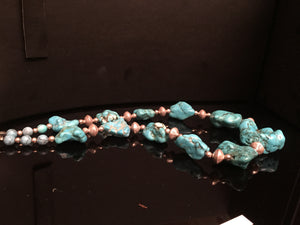 Trellium a stunning handmade bold turquoise necklace for women with silver tone