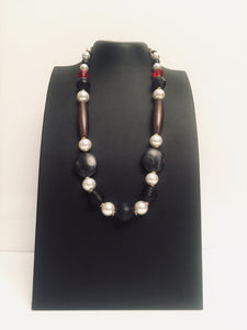 Black Tulip -a stunning black and grey necklace design with large pearls