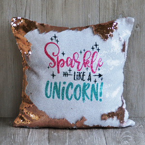 Sparkle like a Unicorn reversible sequins throw pillow. Rose gold and white sequins with a soft suede back.