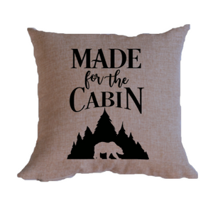 Made for the Cabin is a faux burlap throw pillow cover.