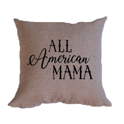 All American Mama burlap throw pillow cover