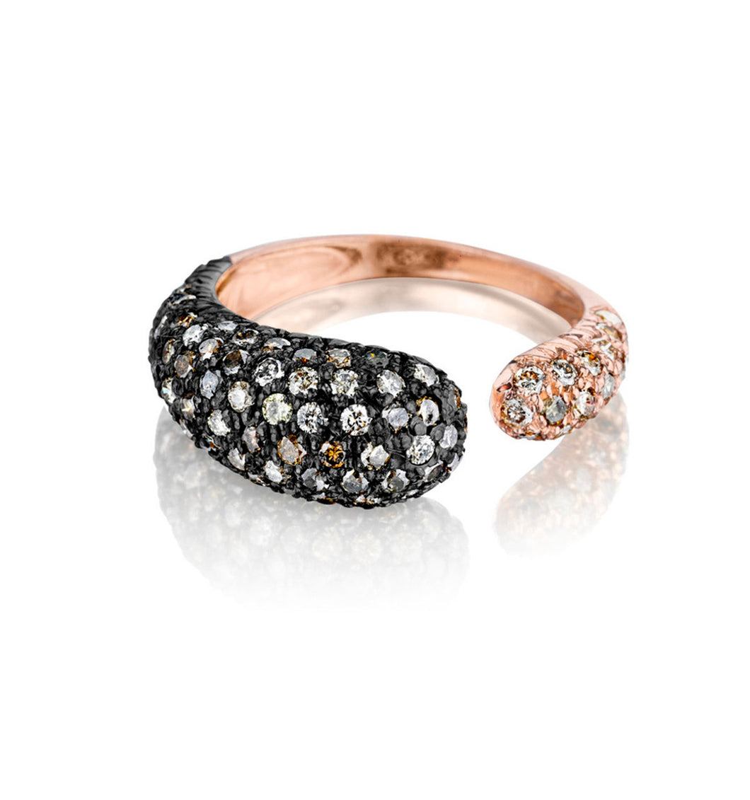 GOCCE COLLECTION BROWN DIAMONDS RING - 18KT ROSE/BLACK RHODIUM