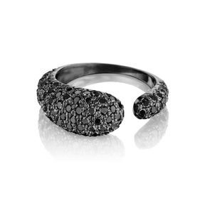 GOCCE COLLECTION BLACK DIAMONDS RING - BLACK RHODIUM