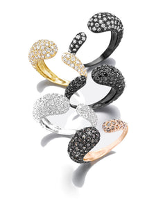 GOCCE COLLECTION WHITE DIAMONDS RING - BLACK RHODIUM