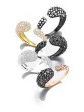 Load image into Gallery viewer, GOCCE COLLECTION BROWN DIAMONDS RING - 18KT ROSE/BLACK RHODIUM