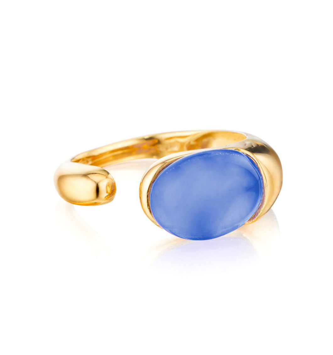 GOCCE COLLECTION RING - BLUE AGATE