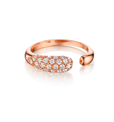 GOCCE COLLECTION WHITE DIAMONDS RING - 18KT ROSE GOLD - SMALL