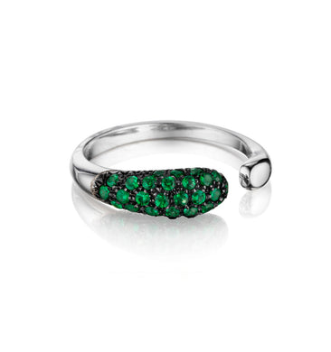 GOCCE COLLECTION TSAVORITES RING - 18KT WHITE GOLD - SMALL