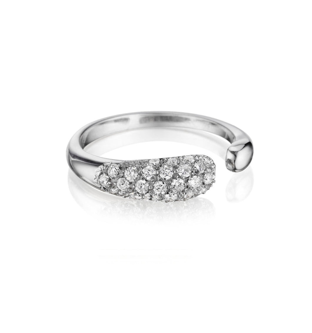 GOCCE COLLECTION WHITE DIAMONDS RING - 18KT WHITE GOLD - SMALL