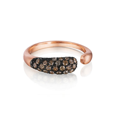GOCCIOLINE COLLECTION BROWN DIAMONDS RING - MATTE ROSE GOLD