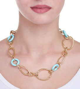 STELLA COLLECTION GOLD NECKLACE - TURQUOISE