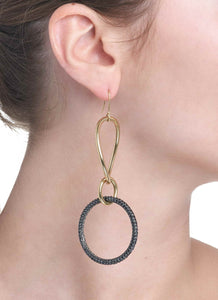 STELLA COLLECTION 18KT GOLD EARRINGS - BLACK DIAMONDS