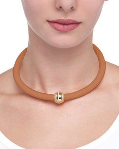 BARBARELLA COLLECTION NECKLACE - DARK ORANGE LEATHER