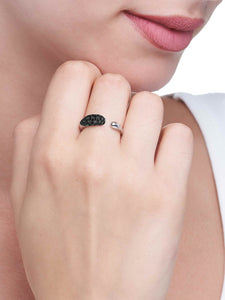 GOCCE COLLECTION BLACK DIAMONDS RING - 18KT WHITE GOLD - SMALL