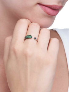 GOCCE COLLECTION TSAVORITE RING - WHITE GOLD - SMALL