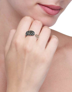 GOCCE COLLECTION BROWN DIAMONDS RING - ROSE/BLACK RHODIUM