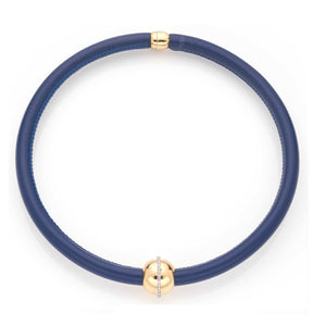 BARBARELLA COLLECTION NECKLACE - BLUE LEATHER
