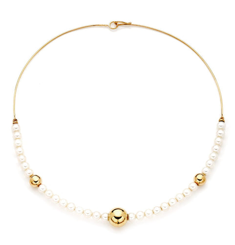 BARBARELLA COLLECTION SEMI-RIGID NECKLACE - 6mm PEARL