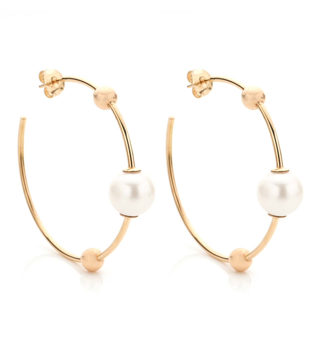 BARBARELLA COLLECTION GOLD EARRINGS - PEARL - LARGE