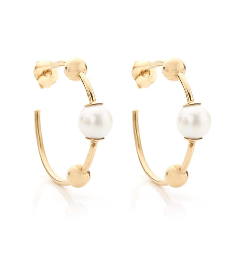 BARBARELLA COLLECTION GOLD EARRINGS - PEARL - SMALL