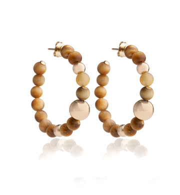 BARBARELLA COLLECTION EARRINGS - TIGER' S EYE GOLD