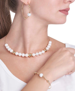 BARBARELLA COLLECTION SEMI-RIGID  NECKLACE - 10mm PEARL