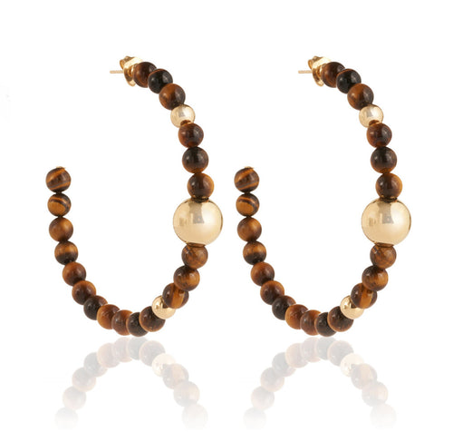 BARBARELLA COLLECTION EARRINGS - TIGER' S EYE