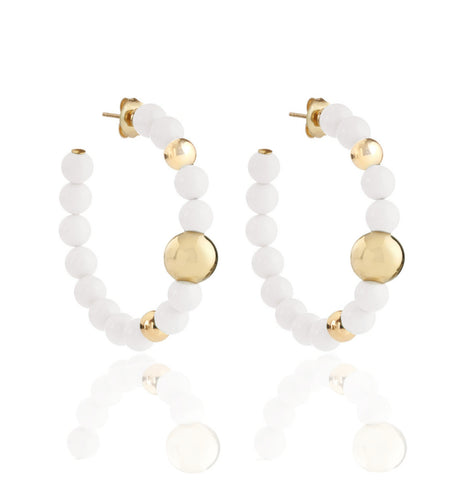 BARBARELLA COLLECTION EARRINGS - WHITE AGATE