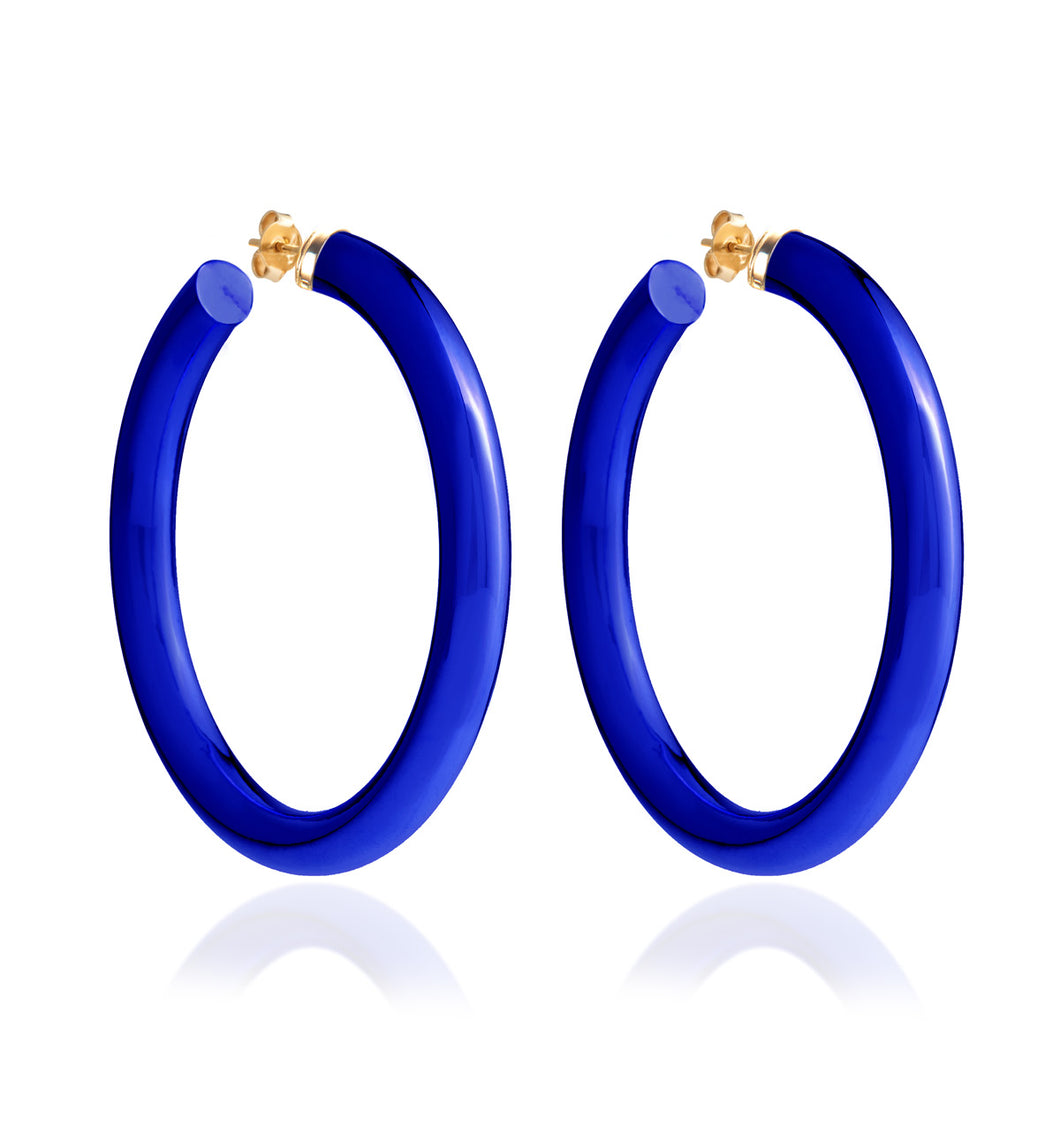 BARBARELLA COLLECTION - 18KT GOLD - STERLING SILVER - LARGE - COBALT BLUE
