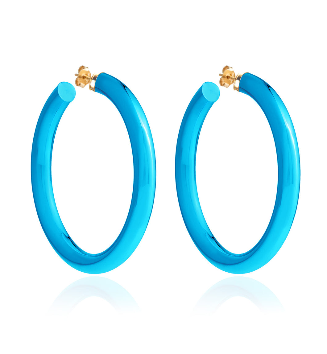 BARBARELLA COLLECTION - 18KT GOLD - STERLING SILVER - LARGE - AQUA BLUE