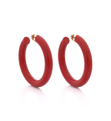 BARBARELLA COLLECTION - 18KT GOLD - STERLING SILVER - MEDIUM - CORAL RED