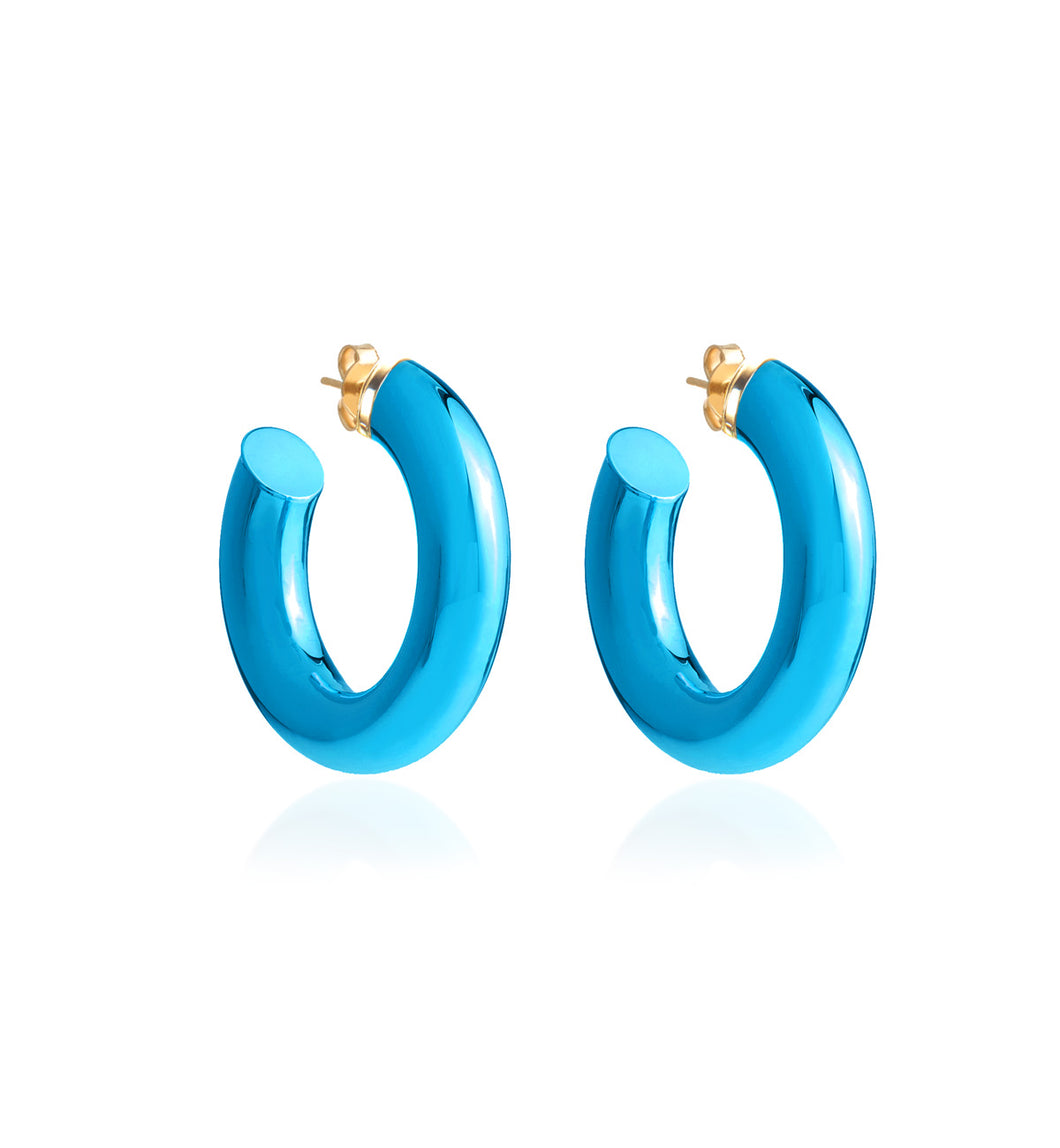 BARBARELLA COLLECTION - 18KT GOLD - STERLING SILVER - SMALL - AQUA BLUE