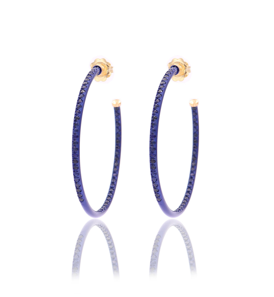 HOOP EARRINGS - BLUE SAPPHIRES - LARGE