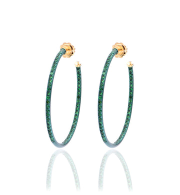 HOOP EARRINGS - TSAVORITE - LARGE