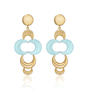 LUNETTE COLLECTION GOLD EARRINGS - AQUAMARINE