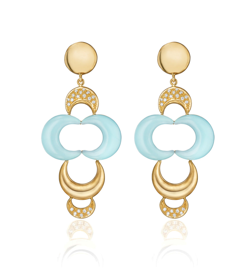 LUNETTE COLLECTION 18KT GOLD EARRINGS - AQUAMARINE