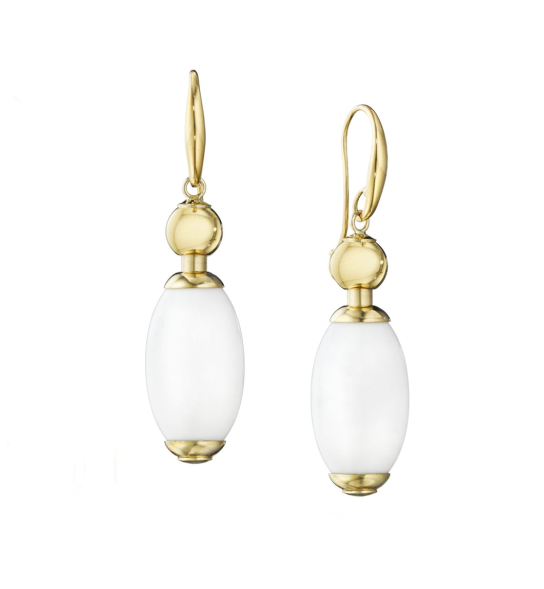 TUCA TUCA COLLECTION WHITE AGATE EARRINGS