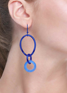 STELLA COLLECTION - STERLING SILVER COBALT BLUE - BLUE AGATE LINKS