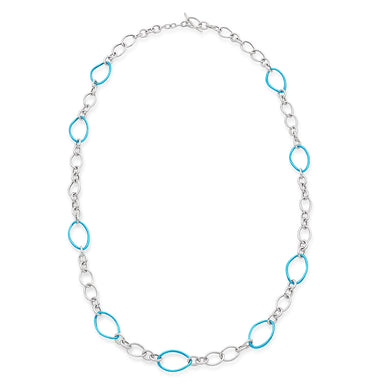 STELLA COLLECTION STERLING SILVER NECKLACE - AQUA BLUE