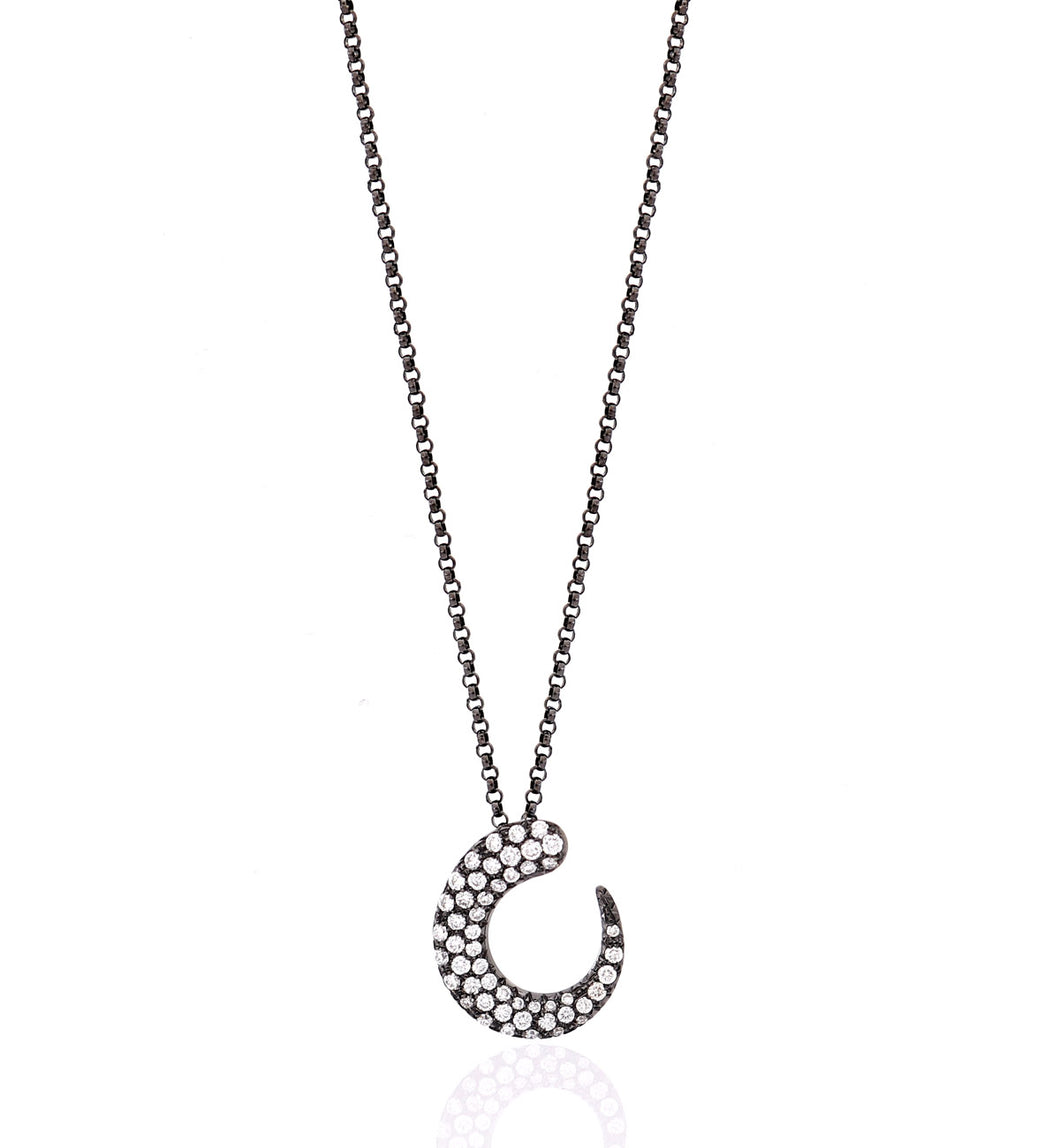 GOCCIOLINE COLLECTION WHITE DIAMONDS NECKLACE - 18KT GOLD BLACK RHODIUM