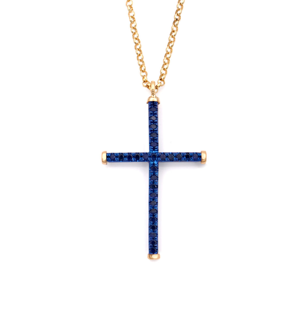 CROSS - YELLOW GOLD - BLUE TITANIUM - NECKLACE