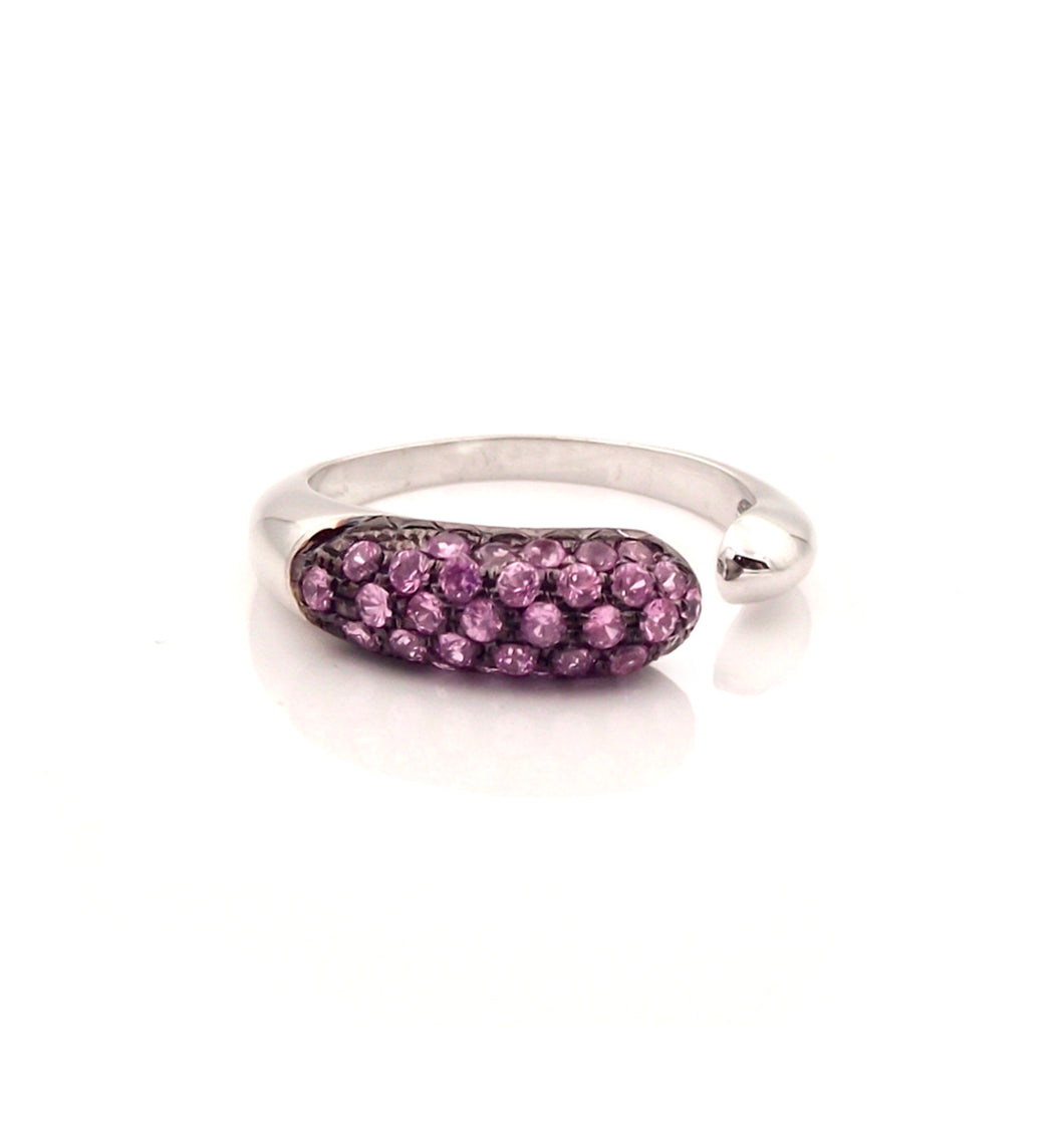 GOCCE COLLECTION PINK SAPPHIRES RING - 18KT WHITE GOLD - SMALL