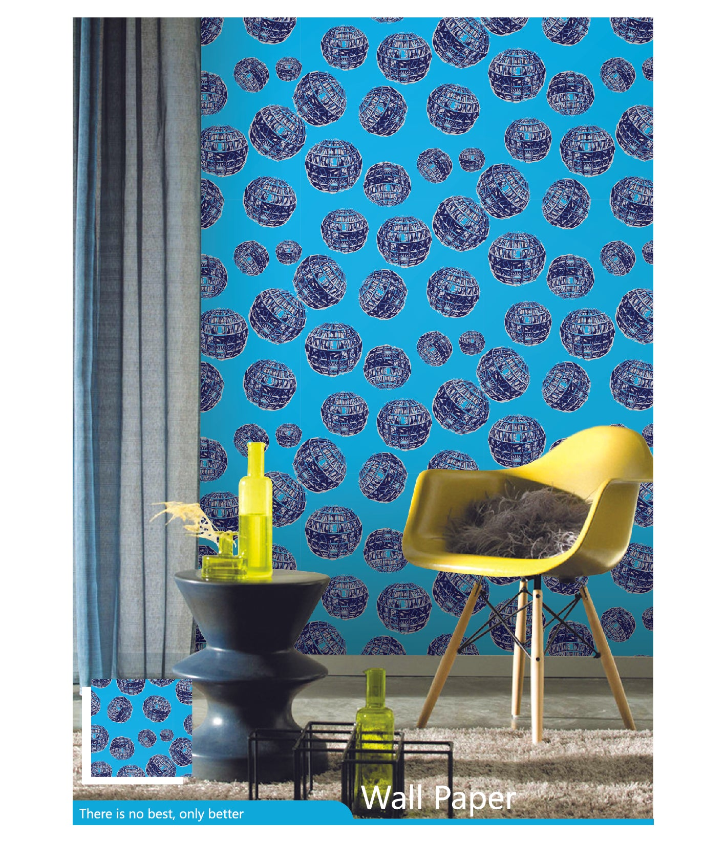 3d design Wall Wallpaper | Blue color Wallpaper for Living Room | abstract PVC wallpaper for bedroom