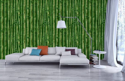 Bamboo design Green color abstract PVC wallpaper by Delhidirect