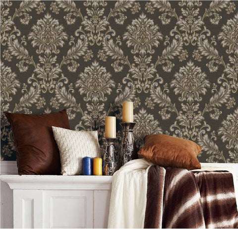 damask design brown color abstract PVC wallpaper by Delhidirect