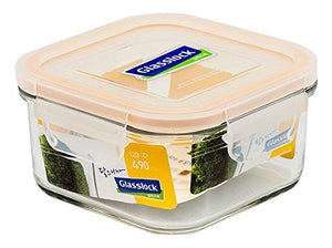 Glasslock Airtight Break Resistant Kitchen Food Storage Container, Lunch Box, Microwave Safe, 490ml
