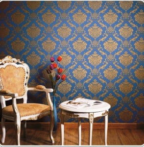 Damask Design Blue Color Wallpaper for Walls