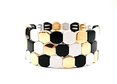 Black, White & Gold Tile Bracelet