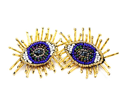 Blue Beaded Evil Eye Earrings