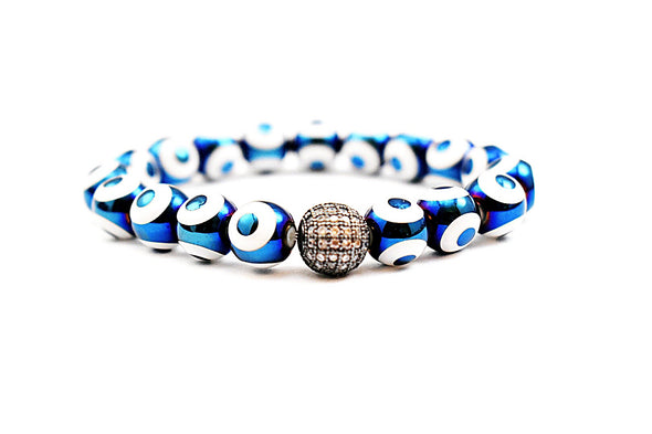 Blue Evil Eye Metallic Bracelet